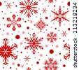 Red christmas seamless background with snowflakes. - stock vector
