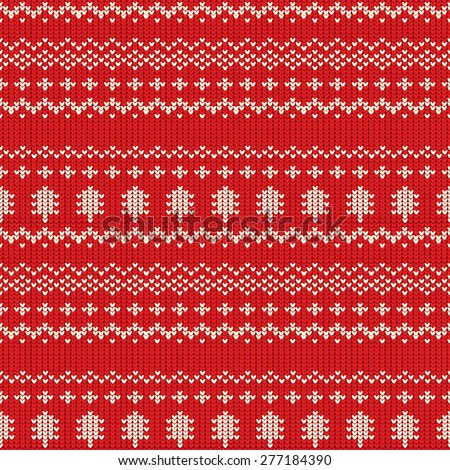 Red Christmas Seamless Knitting Pattern, vector illustration - stock vector