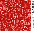Red Christmas Seamless Pattern. Vector illustration. - stock vector