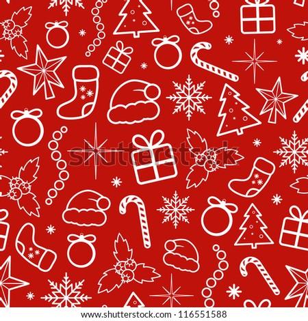 Red Christmas Seamless Pattern. Vector illustration. - stock vector
