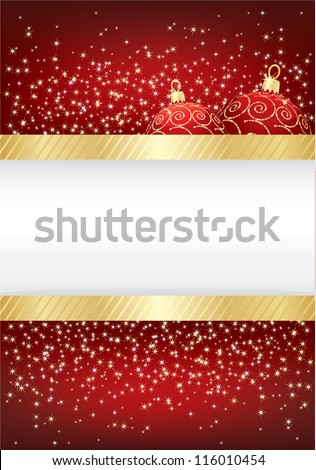 red christmas sparkle background with gold ribbon and baubles, with space for text - stock vector