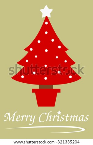 red christmas tree isolated on vintage green background vector holidays illustration - stock vector