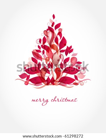 Red Christmas Tree Made From Abstract Transparent Elements Card Design Holiday Poster T