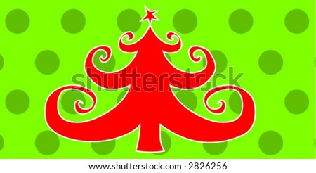 Red Christmas Tree on Green Polka Dot Background - stock vector