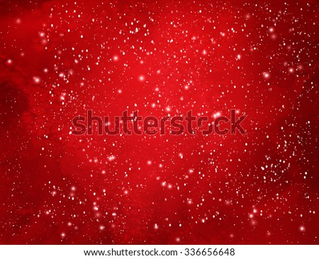 Red Christmas watercolor grunge background with falling snow and light sparkles. - stock vector