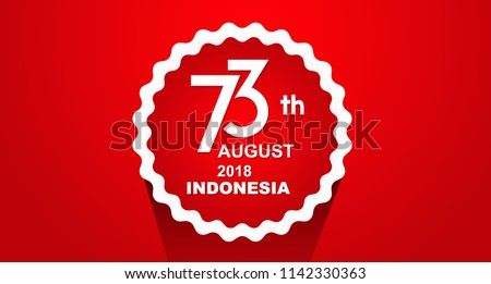Red Circel 73 Years Happy Independence Indonesia Flag Red and White