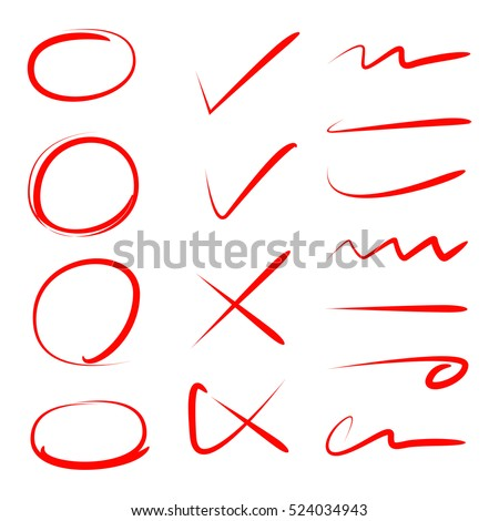 Red Circle Check Mark Scribble Line Stock Photo Photo Vector