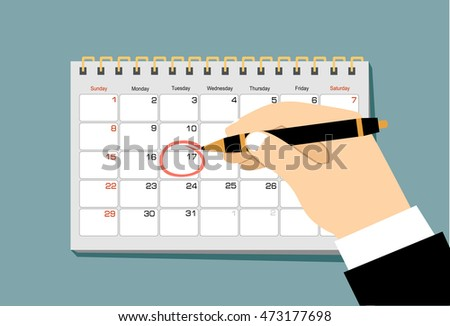 Red circle. Mark on the calendar at 17. Vector flat calendar illustration