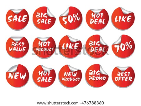 Red Circle Sticker Set Promotion Product or Others for Flyer, Brochure Design