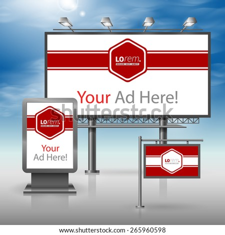 Red classic outdoor advertising design for corporate identity with white central element and horizontal line. Stationery set - stock vector