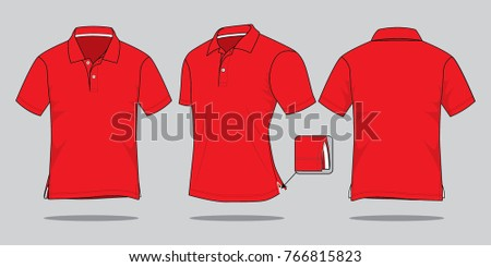 Red Classic Polo Shirt Template Front Back Stock Vector (2018 ...