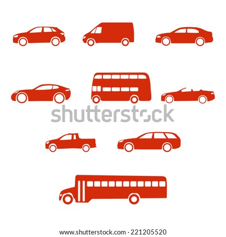 Red clean simple flat set of vehicle silhouettes - stock vector