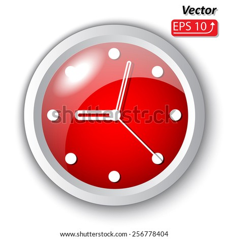 Red clock dial, icon,  isolated on white background Vector Illustration