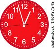Red clock dial. Vector Illustration. - stock vector