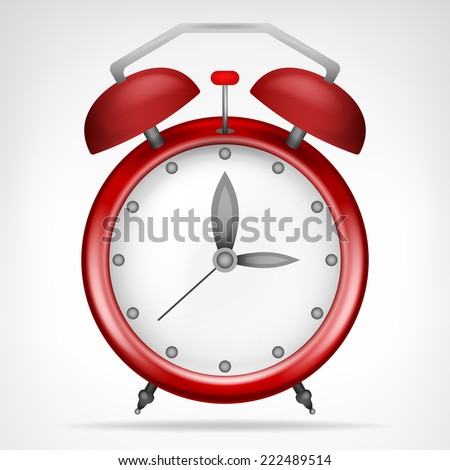 red clock with running time isolated vector illustration - stock vector