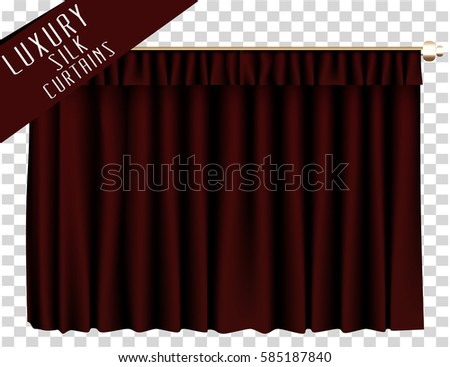 Marvelous Red Closed Curtain. Vector Illustration.