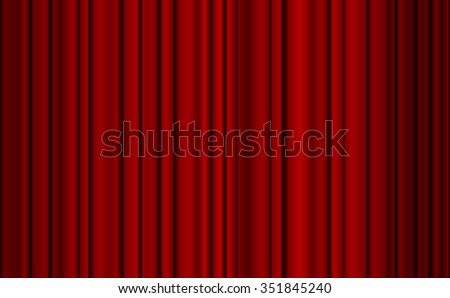 Red closed curtain with light spots in a theater for your design. - stock vector