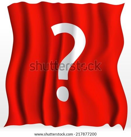 Red Cloth With Question Mark Background. Vector Illustration - stock vector