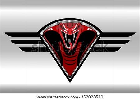 Red Cobra on the silver metallic winged diamond shield - stock vector