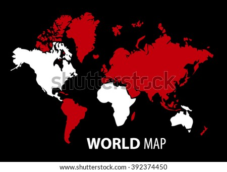 Red color abstract world map with color circle. Abstract polygonal geometric design map. Vector illustration.  - stock vector