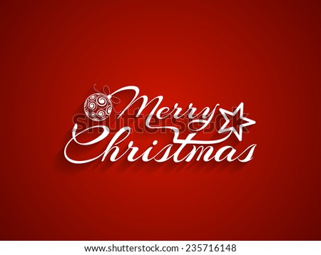 Red color background with beautiful text design of Merry Christmas. - stock vector