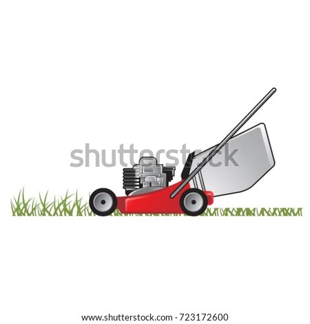 lawnmower drawing. red color lawn mower on grass-vector drawing lawnmower