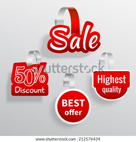 Red color sale discount promotion wobbler set isolated vector illustration - stock vector