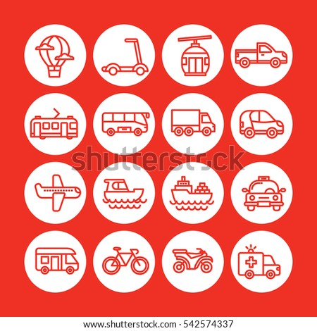 Red color Set of vector icon graphic for Transportation