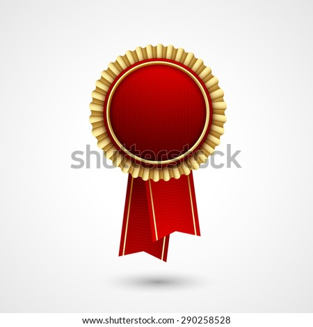 Red Color vector award  badge and ribbon. Premium quality. Best price, choice. - stock vector
