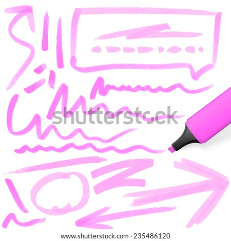 red colored highlighter with different hand drawn markings - stock vector