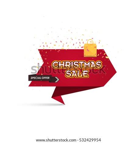 Red Colors Christmas Sale Ad, Isolated Origami Style Web Banner, Flyer, Poster. Vector New Year Theme Shopping Advertising