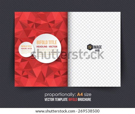 Red Colors Geometric Elements Style Business Bi-Fold Brochure Design. Corporate Leaflet, Cover Template - stock vector