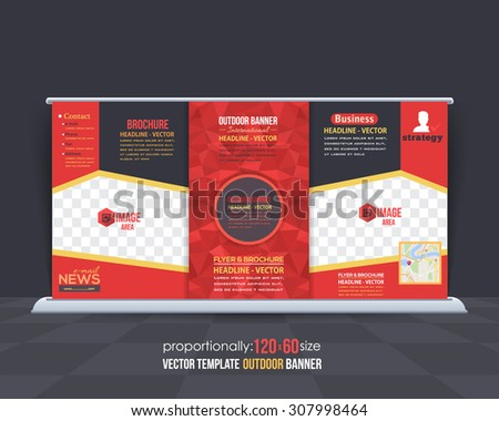 Red Colors Low Poly Style Outdoor Banner, Advertising Vector Background Template  - stock vector