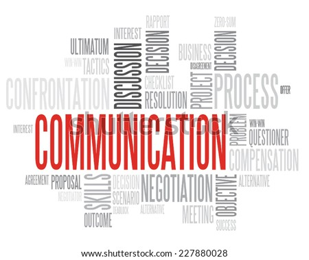 Red Communication concept in word tag cloud isolated - stock vector