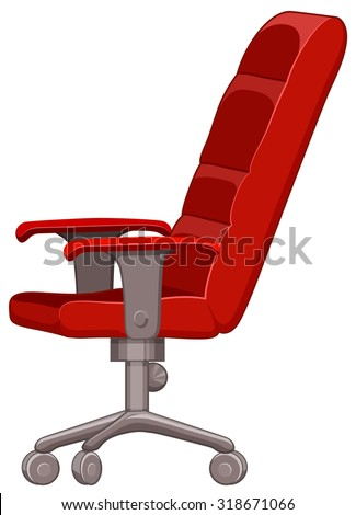 Superbe Red Computer Chair With Wheels Illustration