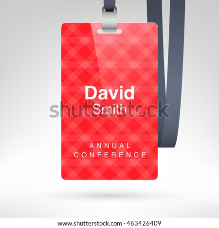 Red Conference Badge Name Tag Placeholder Stock Vector 463426409 ...