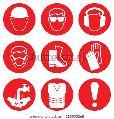 Red Construction Industry Health and Safety Icons isolated on white background - stock vector