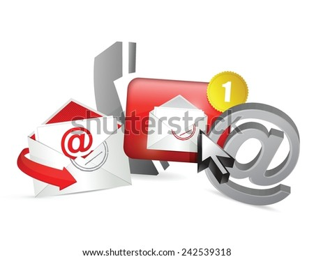 red contact us icons graphic concept illustration design over a white background