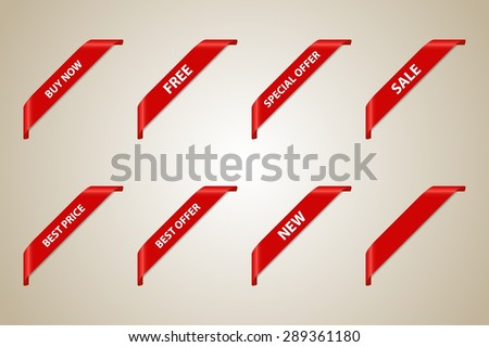 Red Corner Ribbon Set (Best Offer - Sale - Fee - Best Price - Buy Now - New - Special Offer) - Vector Design Element - stock vector