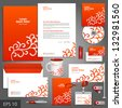 Red corporate identity template with floral elements. Vector company style for brandbook and guideline. EPS 10 - stock photo