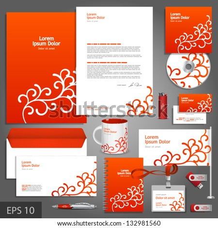 Red corporate identity template with floral elements. Vector company style for brandbook and guideline. EPS 10 - stock vector