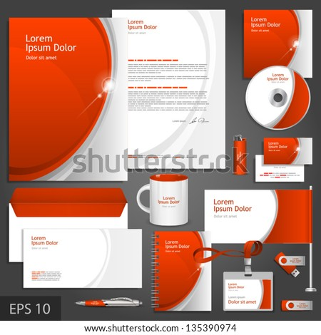 Red corporate identity template with gray elements. Vector company style for brandbook and guideline. EPS 10 - stock vector