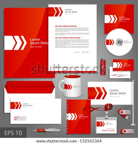 Red corporate identity template with white arrow. Vector company style for brandbook and guideline. EPS 10 - stock vector