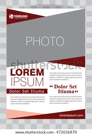 Red Corporate Vector brochure template design with elements