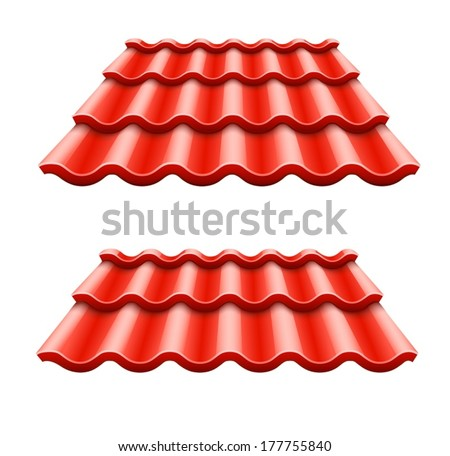 Red corrugated tile element of roof. Eps10 vector illustration. Isolated on white background - stock vector