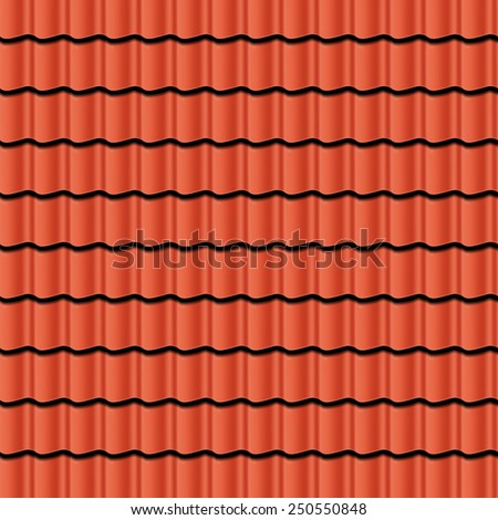 Red corrugated tile element of roof. Seamless pattern. Vector illustration - stock vector