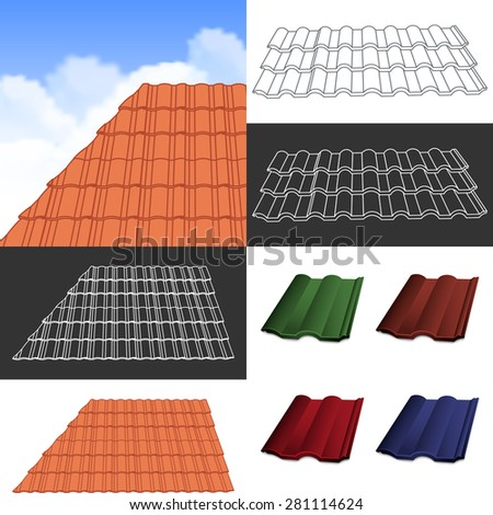 Red corrugated tile elements of roof.  - stock vector