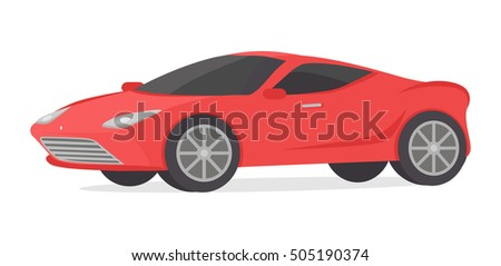 Red coupe car isolated on white. Modern detailed car in flat style design. Sport luxury automobile illustration. Sportscar two seater, two door auto designed for spirited performance. Vector