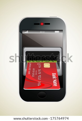 Red Credit Card and modern mobile phone - stock vector