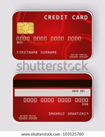 Red credit card Banking concept front and back view - stock vector